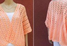 Crochet orange cardigan model romantica