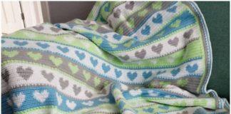 Blue and gray heart crochet blanket